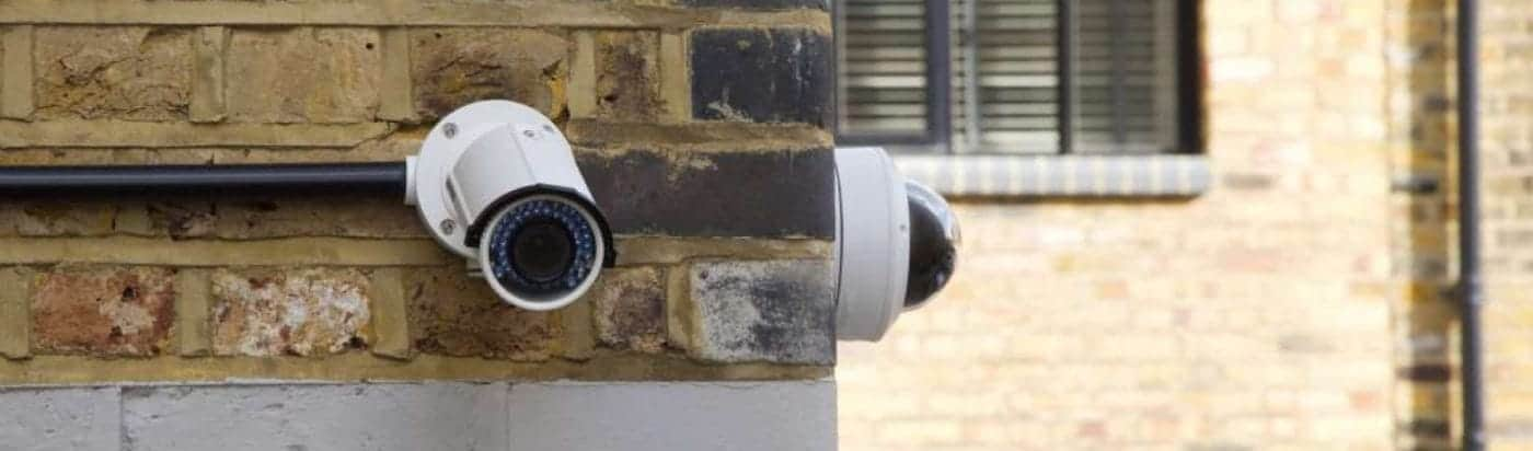 Two Commercial CCTV cameras on wall