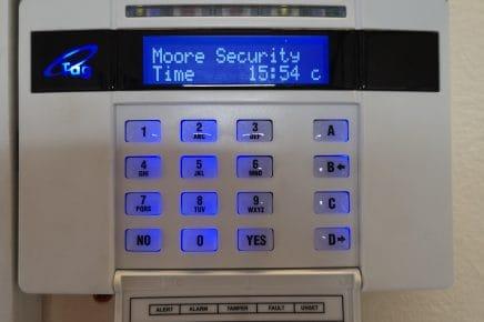 Alarm panel lit up on wall