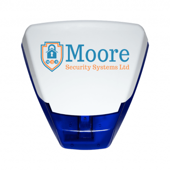 Alarm box with Moore Security logo on